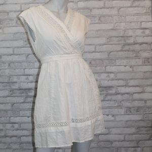 BANANA REPUBLIC White Dress Bridal Linen 0 Petite